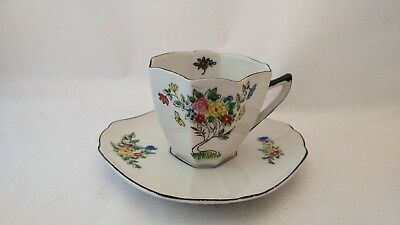 Antique Unmarked Octagon Shape Cup & Saucer Set With Florals and Black Trim