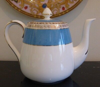 Antique Crown Staffordshire Turquoise And Gold Teapot