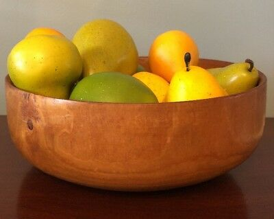 Decorative Carved Turned Wooden Footed Fruit Bowl w/ Fruit - Apples & Pears
