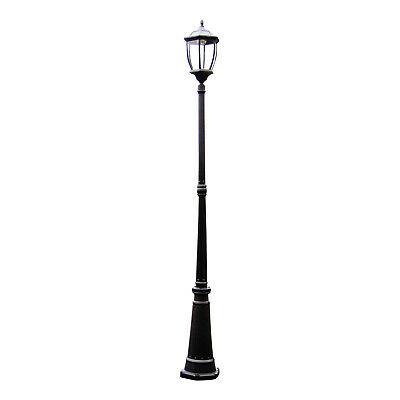 SOLAR LIGHT POST Black Victorian Style Garden Outdoor Driveway LED Mood Lamp NEW