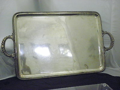"Antique St. Silver 800 Extra Large Handled Tray 27 X 15.5""  Inch."