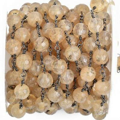 13ft GOLDEN QUARTZ GEMSTONE Rosary Chain, gunmetal, 8mm round faceted fch0860b