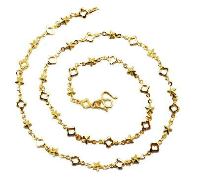 """Fashion Chic 18"""" Chain 5.7 mm Necklace 22K 24K Gold GP Baht Thai Jewelry GT51"""