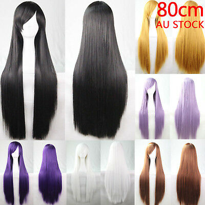 OZ 80cm Straight Sleek Long Full Hair Wigs w Side Bangs Cosplay Costume Womens