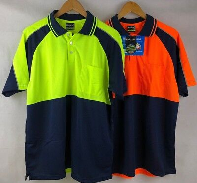 3 Pack Hi Vis Unisex Safety Work Polo Shirt Cool Dry Fabric Fluo Orange/Yellow