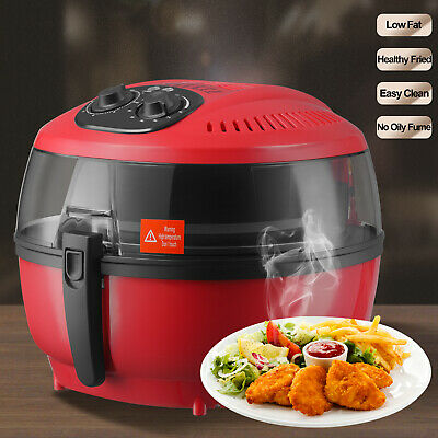 6QT White Electric Air Fryer Timer Temperature Cooking Oil-Less Griller Roaster