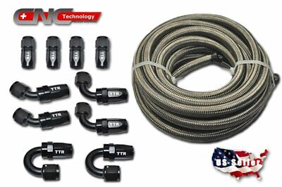 20FT AN8 Stainless Steel Braided Fuel Line 10 Fittings Hose End Kit Swivel Black