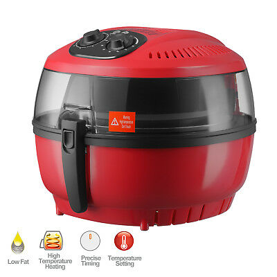 6QT Red Electric Air Fryer Timer Temperature Cooking Oil-Less Griller Roaster