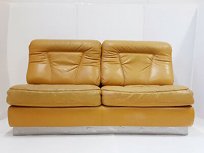 Sofa Sofa Leather & Stainless Steel Jacques Carpenter Roche-Bobois 70 Vintage