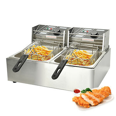 Dual Tank Electric  Deep Fryer Commercial Basket French Fry for Bar Restaurant