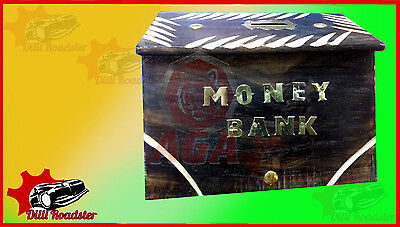 Handcrafted Wooden Piggy Bank/Vintage Coin bank/Coin Sorter/Wooden Money Bank