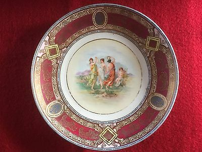 Royal Vienna Beehive burgundy and gold jewelled plate