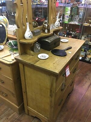 Victorian Antique Pine Chest Of Drawers With Mirror