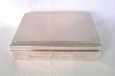 Stunning Solid Silver Engine Turned Cigarette Box Circa 1945