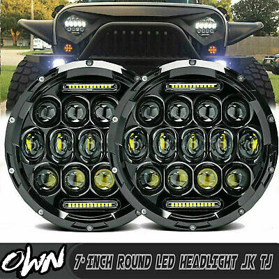 75W 7inch Round Led Headlight Projector DRL Hi/Lo Beam For FREIGHTLINER Century
