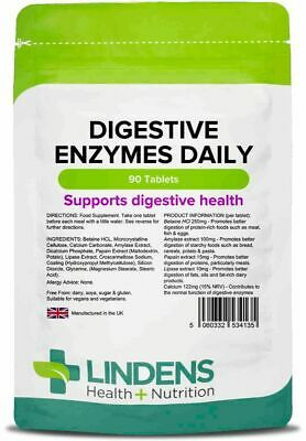 Lindens Digestive Enzymes Daily With Betaine HCI (90 x Tablets) UK MADE