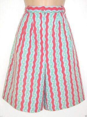 Laura Ashley Vintage Wave Stripe Spotted Cotton Summer Shorts, 14