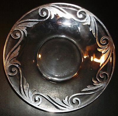"Antique Silver Overlay Glass Dish 5 1/4"" Nice Condition"