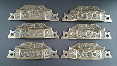 "6 Antique Vintage Style Brass Victorian Apothecary Bin Pull Handles 4 9/16""w.#A6"