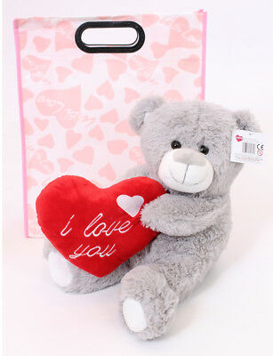 """16"""" Grey Teddy Bear In Gift Bag Mothers Day I Love You Plush Valentines Present"""