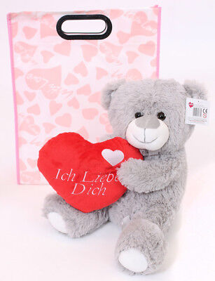 """16"""" Grey Ich Liebe Dich Teddy Bear In Gift Bag Mothers Day I Love You German"""