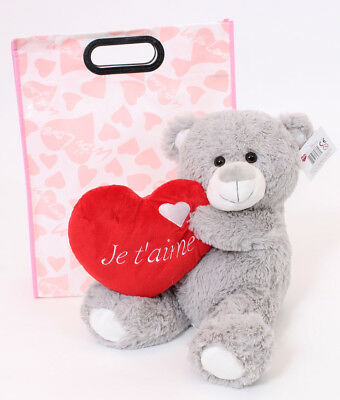 """16"""" Grey Teddy Bear Je T'aime In Gift Bag Mothers Day I Love You French Plush"""