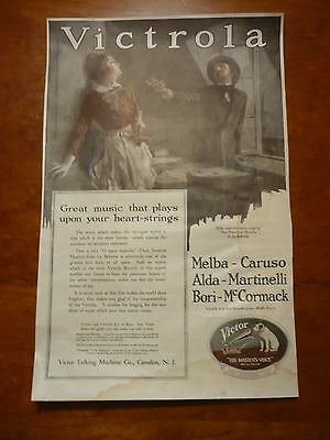 C 1919 antique VICTROLA OR NYC Skyline Dual Print Original ADVERTISEMENT AD WW1