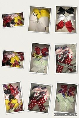 One Handmade Cheer Bow Ribbon Key-chains - Various Colors and Patterns