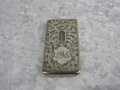 Silver Card Case - Edwardian With Extensive Engraved Decoration - 1902