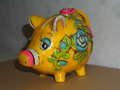Vintage 1968 Holiday Fair Yellow Piggy Bank With Flowers