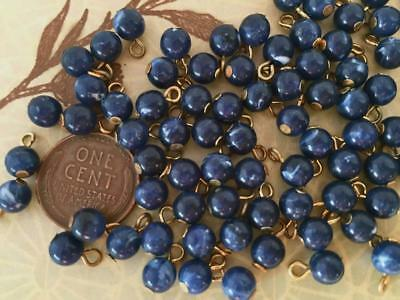 Vintage 5.5mm Mottled Navy Blue Lucite Bead Charms w Loop Japan 30