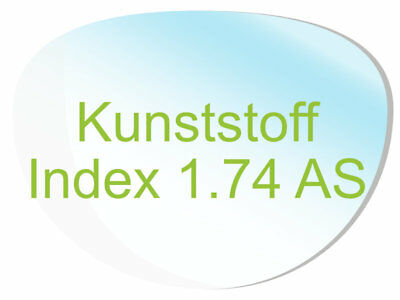 2 Brillengläser Kunststoff (Index1,74 AS) Super-ET, Hartschicht, CleanCoat