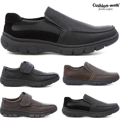 Mens New Cushion Walk Faux Leather Slip On Touch Fastening Lightweight Casuals
