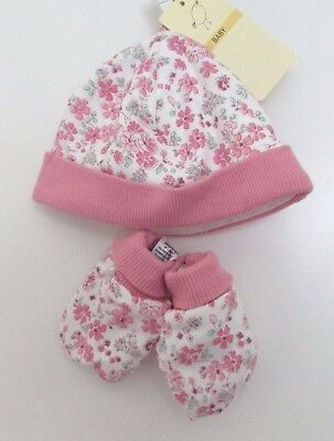 Baby Girl Hat & Mittens Set Marks & Spencer Pink Mix Floral 100% Cotton