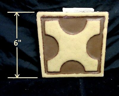 "RARE * Grueby Pottery * GEOMETRIC ""X"" * in Brown & Tan (6 x 6) (SAVE U FRAME)"