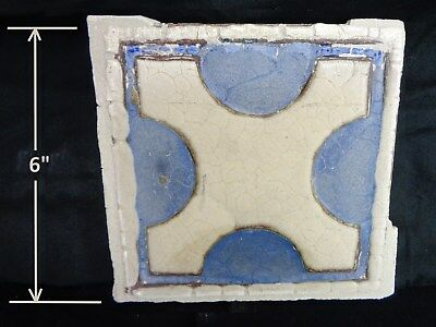 "RARE * Grueby Pottery * GEOMETRIC ""X"" * in Blue & Beige (6 x 6) (SAVE U FRAME)"