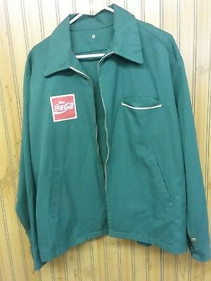 Vtg Coca Cola Green Coke Delivery Driver Jacket Coat partially lined. Size ?