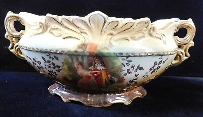 Vtg Handpainted China Gravy Boat TUREEN Dancing Royalty w/Gild ENGLAND (TH1048)