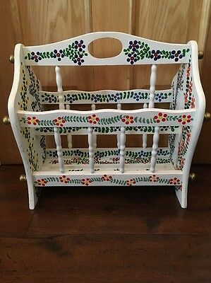 Vintage Hand Painted Wooden Magazine Rack