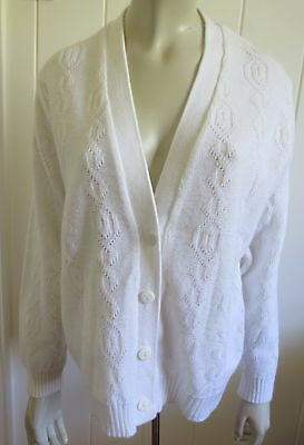 Barricade Knitwear vintage 1970s white lacey-look cardigan size 16 (US 12)