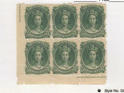 NOVA SCOTIA (MK1165) #11 VF-MNH 81/2cts QV INSCRIPTION BLOCK OF 6 PREM EST. $500