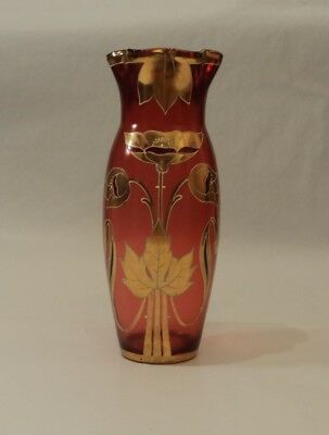 Art Nouveau Gold Gilded Cranberry - Ruby Red Glass Vase - Signed & numbered