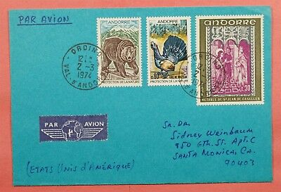 1974 Andorra French Multi Franked Airmail Cover To Usa