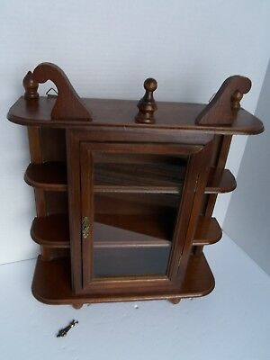 Vintage Wall Hanging Curio Cabinet Shelf Table Top Glass Door Wood Display Case