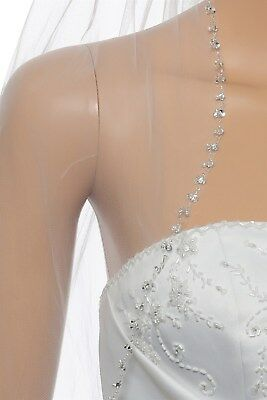 """1T 1 Layer White / Ivory Crystal Pearl Beaded Elbow 30"""" Bridal Wedding Veil"""