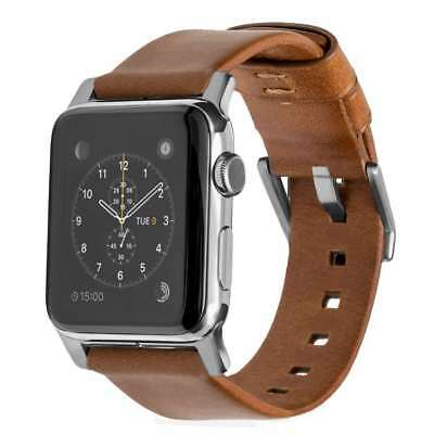 Nomad Horween Leather Strap for Apple Watch 42mm Custom Stainless Steel Silver