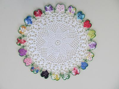 Nice colorful antique butterfly hand crocheted 10 inch diameter doily