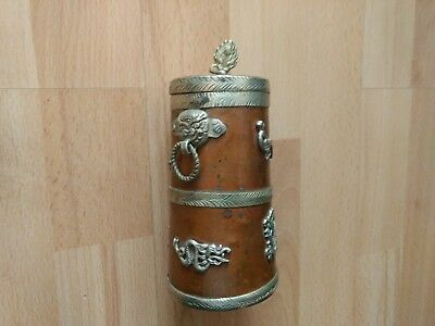 Antique Tibetan Chinese Buddhist Copper teapot with lid Embossed Brass