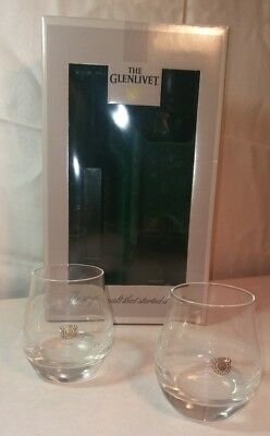 Glenlivet Two Tumbler Drinking Glass Set Includes No Actual Scotch Brand New