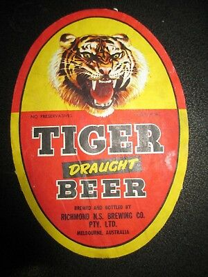 Tiger Draught  Beer Label Richmond Brewing Co (B319)